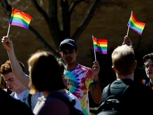 "(Francisco Kjolseth  |  The Salt Lake Tribune) Students protest outside the student center at Brigham Young University in Provo, Wednesday, March 4, 2020, after an official with The Church of Jesus Christ of Latter-day Saints issued a clarification to the school's Honor Code, which said that same-sex romantic behavior is still ""not compatible"" with the rules at BYU."