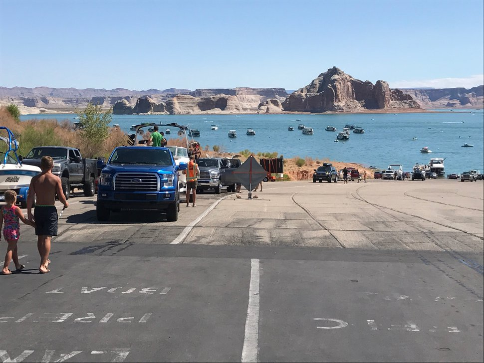 Courtesy photo National Park Service Lake Powell is Utah's water body infested with the non-native quagga mussels . Boat inspections aimed at preventing the spread of the invasive mullosk are resulting in long lines, pictured here, because National Park Service officials are increasingly discovering adult quagga in boats' internal systems.