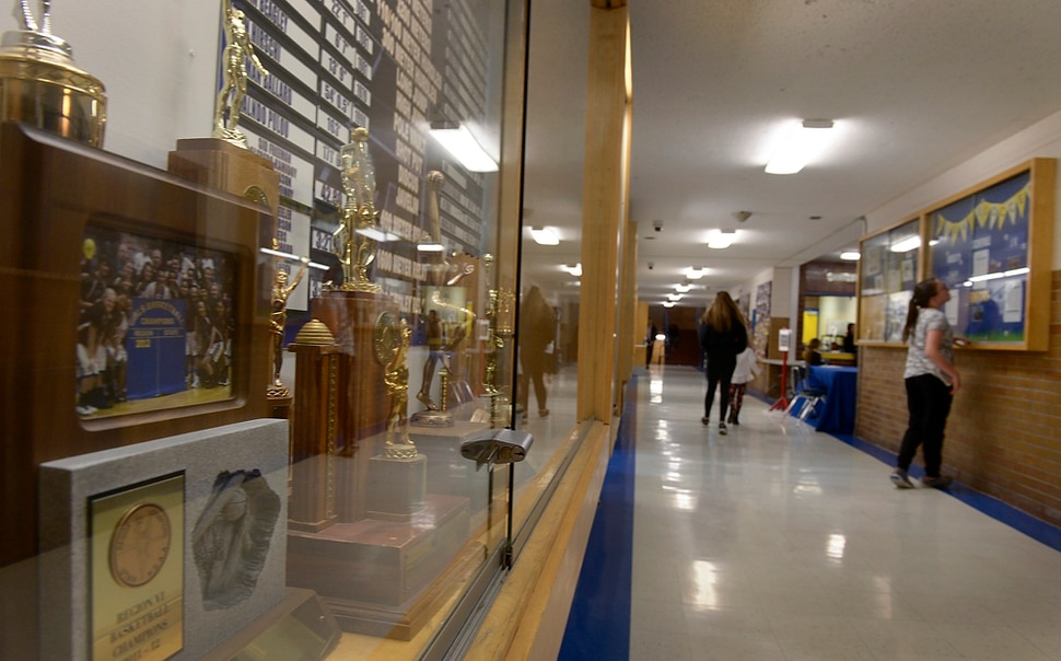 (Leah Hogsten | The Salt Lake Tribune) The trophy cases lining the halls of the high school are filled with longtime Pirate pride as Utah's oldest high school. Cyprus High School has grown and changed since the gym and what may be the state's oldest operating indoor pool were constructed in 1955. A new school is in the works, badly needed to accommodate a growing population on the west side's close-knit community, where long-time fans show up no matter how good or bad the Pirates are.