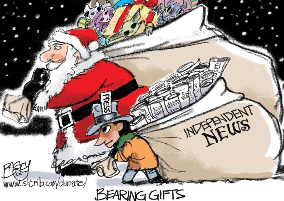 "(Pat Bagley | The Salt Lake Tribune) This cartoon, titled ""Santa's Helper,"" appears in The Salt Lake Tribune on Tuesday, Dec. 24, 2019."