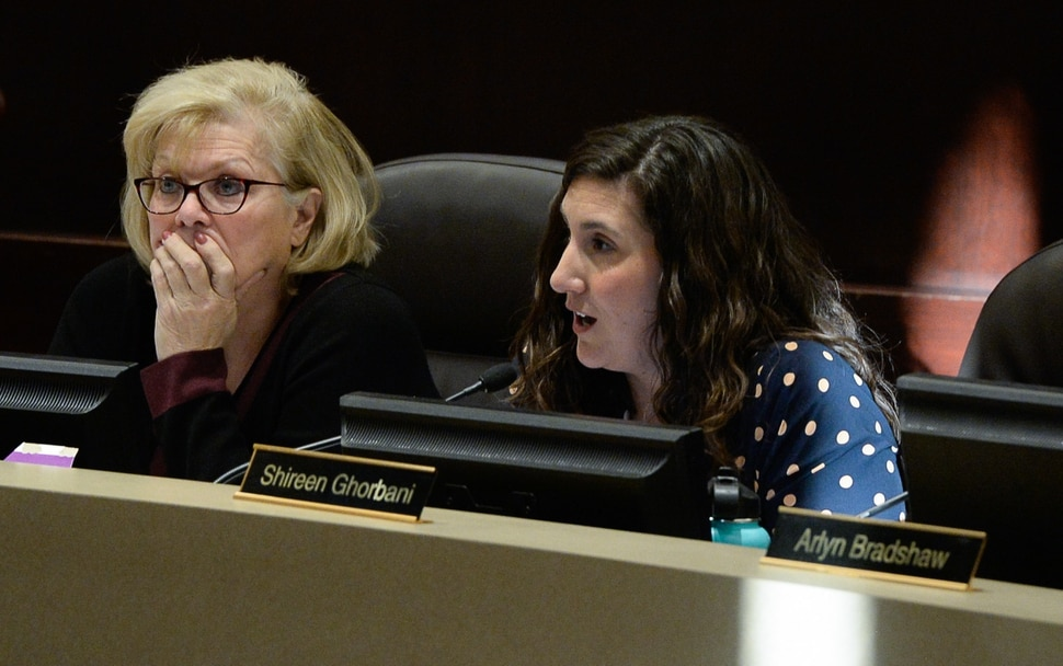 (Francisco Kjolseth | The Salt Lake Tribune) Council members Ann Granato, left, and Shireen Ghorbani takes turns explaining their yes vote as the Salt Lake County Council takes the first of two votes on Tuesday, Feb. 25, 2020, on a set of zoning changes for Olympia Hills, the controversial new housing and commercial development proposed on unincorporated county land on Herriman's western border. The County Council approved the zoning changes 6-to-3, as residents from Herriman, Bluffdale and Riverton who oppose the project turned out for the hearing to voice their concerns.