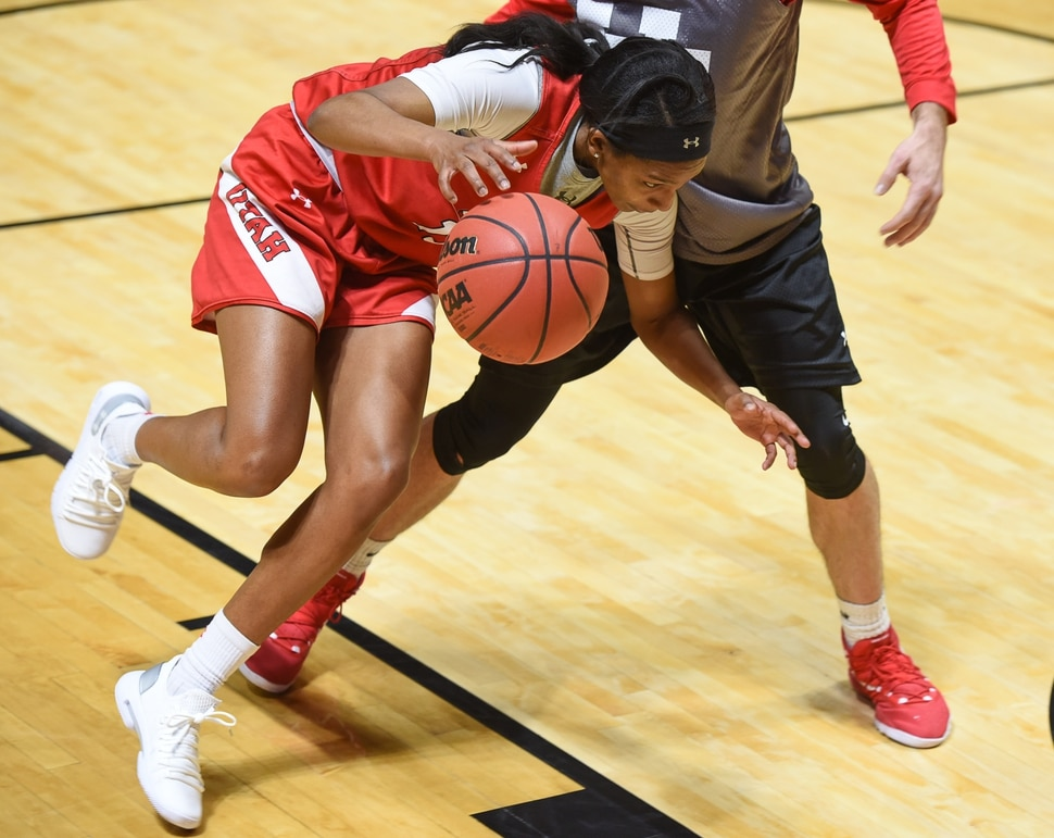 (Francisco Kjolseth   The Salt Lake Tribune) Erika Bean of the Utah women's basketball team practices at the Jon Huntsman Center on Wed. Jan. 2, 2019, as they prepare for their next game on Friday. The team guided by coach Lynne Roberts has them rolling 12-0, in one of the best starts in program history.