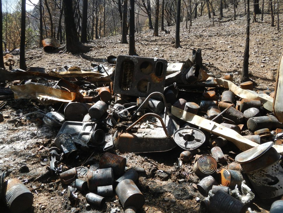 (Courtesy of Iron County Sheriff's Office) The remains of an explosive-filled bunker found during the Brian Head fire in summer 2017.