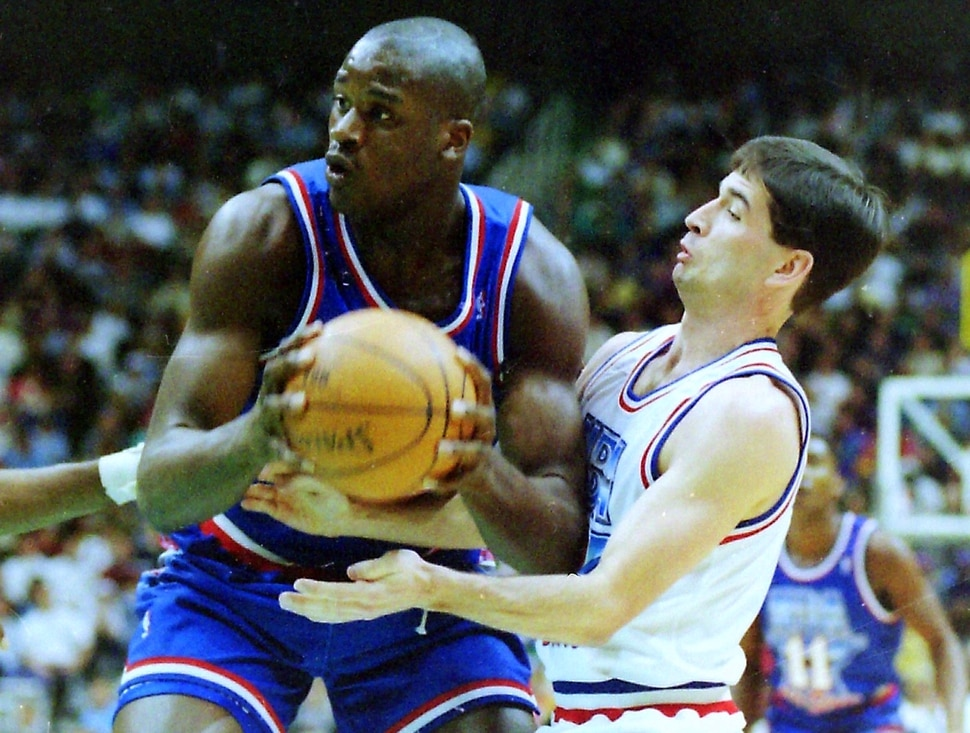 (Steve Griffin | Tribune file photo) Shaquille O'Neal, left, and John Stockton in the 1993 All-Star Game at the Delta Center in Salt Lake City, Sunday, Feb. 21, 1993.