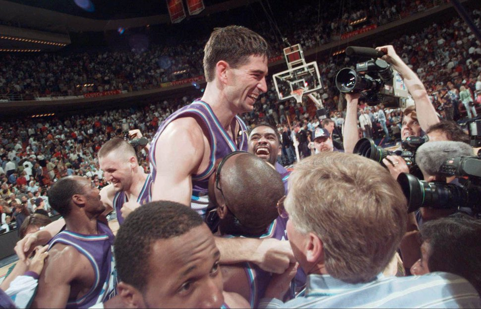 Tribune file photo Utah Jazz's John Stockton is lifted on the shoulders of his teammates after sinking a three-point shot at the buzzer to beat the Houston Rockets 103-100 in Game 6 of the Western Conference Finals Thursday, May 29, 1997, in Houston. The Jazz advanced to play the Chicago Bulls in The NBA Finals.