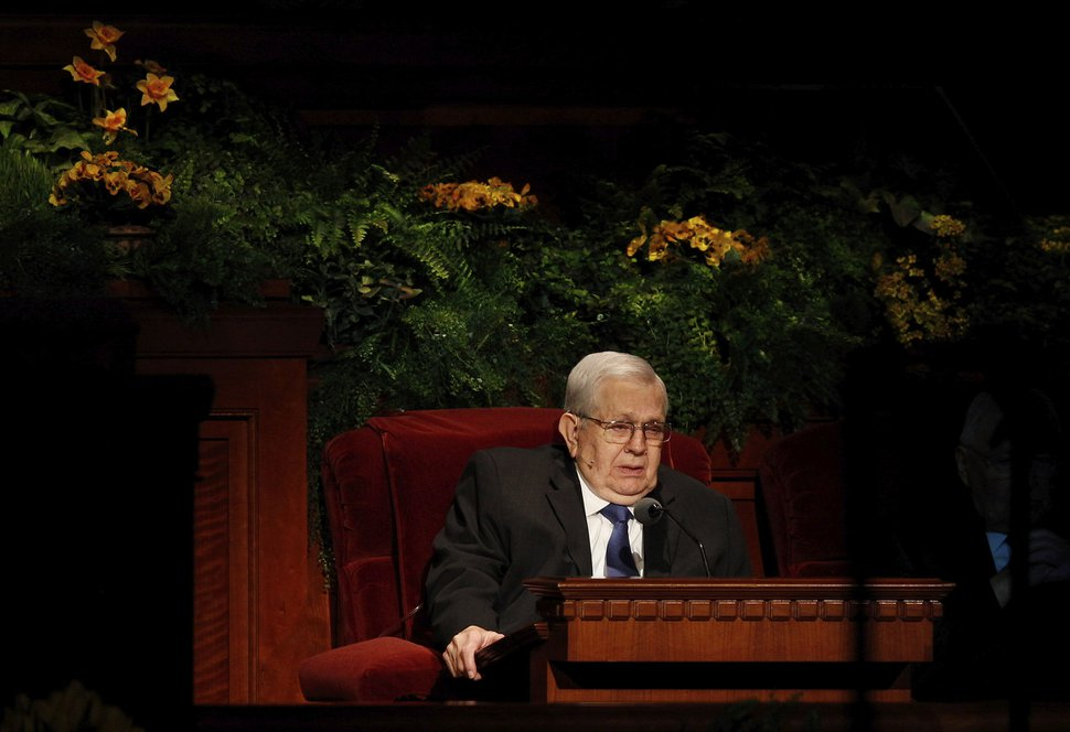Courtesy | LDS Church President Boyd K. Packer of the Quorum of the Twelve Apostles speaks at the Sunday afternoon session of general conference, April 6, 2014.