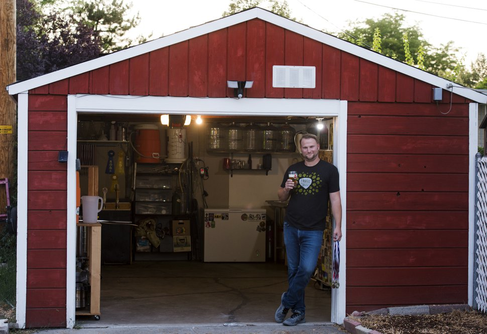 (Rick Egan | The Salt Lake Tribune) Salt Lake City resident Zachary Belles was named Utah's best home brewer during the 2018 Beehive Brewoff last month. He's shown at his garage-turned-brewery on Tuesday, Sept. 4, 2018.
