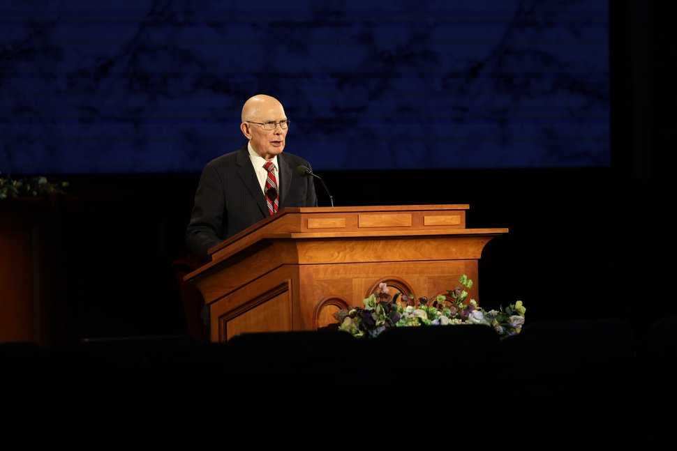 (photo courtesy The Church of Jesus Christ of Latter-day Saints) President Dallin H. Oaks speaks at the Saturday evening session of General Conference on April 4. 2020.
