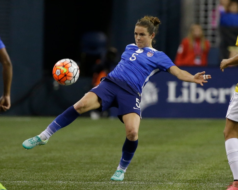 United States' Kelley O'Hara in action against Brazil in a friendly soccer match Wednesday, Oct. 21, 2015, in Seattle. The match is part of a post-World Cup victory tour by the U.S. women's national team. (AP Photo/Elaine Thompson)