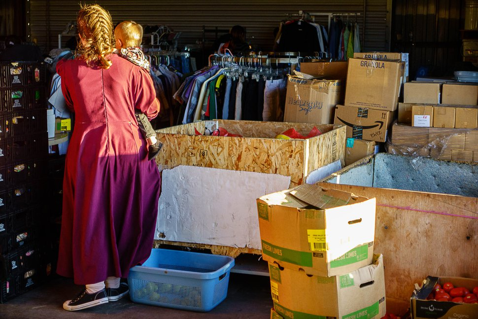 Trent Nelson   The Salt Lake Tribune People looking through donated goods at Southwest Recovery Mission Ministries in Apple Valley, Thursday February 25, 2016. The organization provides donated food to families in Hildale, Utah and Colorado City, Arizona.
