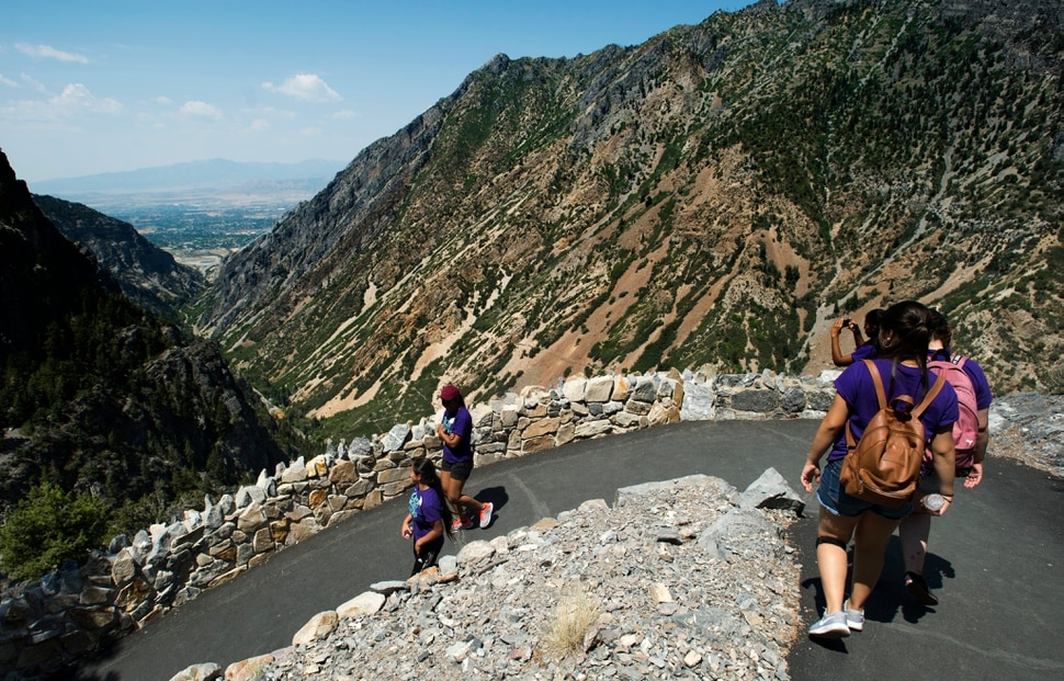 (Rick Egan   The Salt Lake Tribune) Teens in the Youthworks program hike down the trail, after their tour of Timpanogos Cave, Thursday, August 3, 2017.