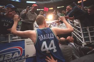 (Rick Egan | The Salt Lake Tribune) Shawn Bradley leaves the Delta Center after defeating the Jazz in the first round of the NBA Playoffs in 2001.