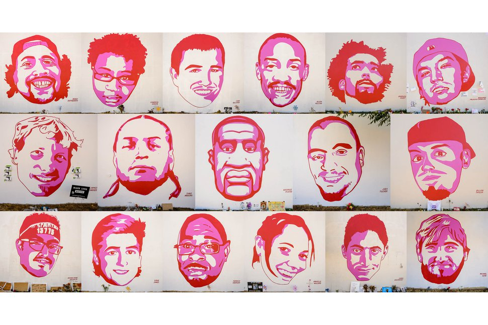 (Trent Nelson | The Salt Lake Tribune) Faces from a series of murals depicting people killed by police, near 800 South and 300 West in Salt Lake City on Wednesday, July 8, 2020. Top row from left, Bobby Duckworth, Cindreia Europe, Cody Belgard, Allen Nelson, Darrien Hunt, and Bernardo Palacios-Carbajal. Middle row from left, James Barker, Siale Angilau, George Floyd, Joey Tucker, and Dillon Taylor. Bottom row from left, Bryan Pena Valencia, Zane James, Patrick Harmon, Danielle Willard, Chad Breinholt, and Michael Glad.