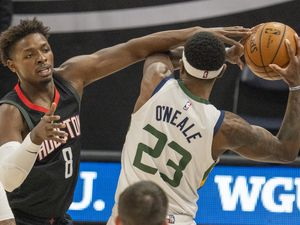 (Rick Egan | The Salt Lake Tribune) Utah Jazz forward Royce O'Neale (23) is fouled by Houston Rockets forward Jae'Sean Tate (8), in NBA action between the Utah Jazz and the Houston Rockets, at Vivint Arena, on Saturday, May 8, 2021.