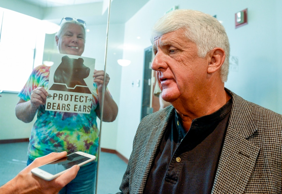 Leah Hogsten | The Salt Lake Tribune l-r Pam Harrison of Ogden holds a sign for U.S. Representative for Utah's 1st congressional district, and Chairman of the House Natural Resources Committee, Rob Bishop to see after a meeting with Susan Combs, the Interior Department's Acting Assistant Secretary for Policy, Management and Budget in Ogden, Aug. 28, 2018 to hear how the Department of Interior reorganization could benefit Utah.