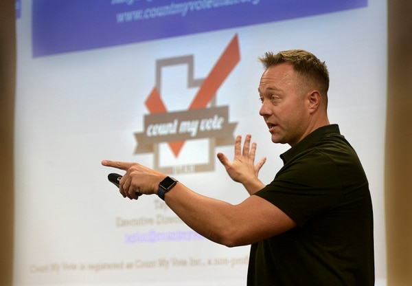 (Scott Sommerdorf | The Salt Lake Tribune) Taylor Morgan of Count My Vote spoke at the Count My Vote public hearing at the Whitmore Library in Cottonwood Heights, Friday, Oct. 27, 2017.