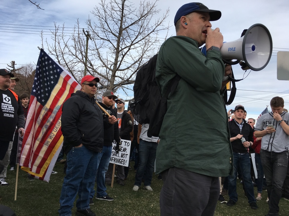 (Scott Sommerdorf | The Salt Lake Tribune) Counter-protesters, organized by Utah Gun Exchange, gather Saturday, March 24, prepare to participate in the March Before Our Lives.