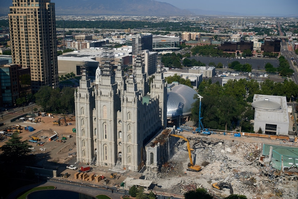(Photo courtesy The Church of Jesus Christ of Latter-day Saints) In this July 2020 photo, crews dismantle the 1960s additions to the Salt Lake Temple.