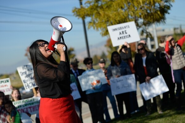 (Francisco Kjolseth | The Salt Lake Tribune) Mayra Cedano of Communidades Unidas shouts