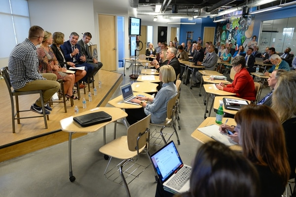 (Francisco Kjolseth | The Salt Lake Tribune) The GovernorÕs Office of Economic Development (GOED) and Silicon Slopes meet in Lehi to announce a partnership with IT companies and education to create a pathway program to fill workforce needs in the stateÕs tech industry.'