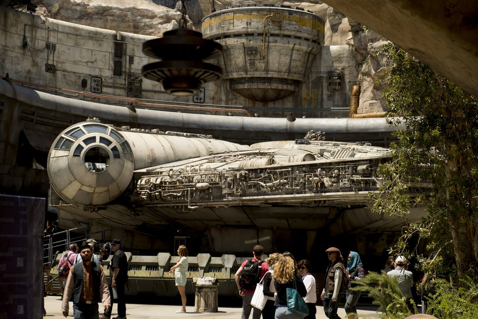 (Jeremy Harmon | The Salt Lake Tribune) The Millennium Falcon is docked at Black Spire Outpost at Star Wars: Galaxy's Edge in Anaheim, Calif., on Wednesday, May 29, 2019.