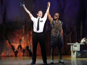 """Courtesy     MagicSpace/Broadway Across AmericaFirst national tour cast in the """"Book of Mormon"""" musical."""