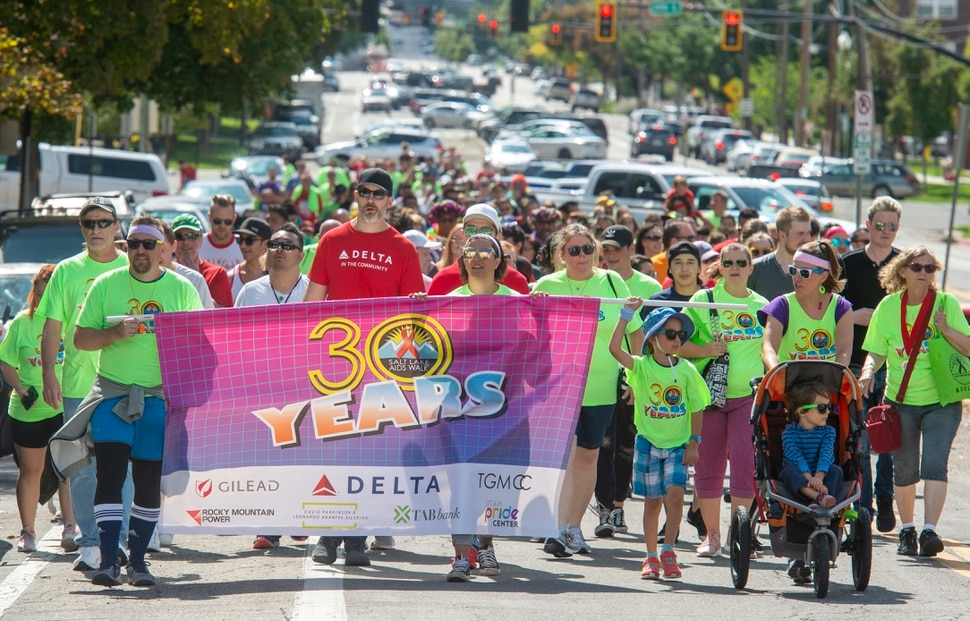 (Rick Egan | The Salt Lake Tribune) Walkers make their way up towards the State Capitol during the Utah AIDS Foundation's 30th annual AIDS walk, Saturday, Sept. 21, 2019.