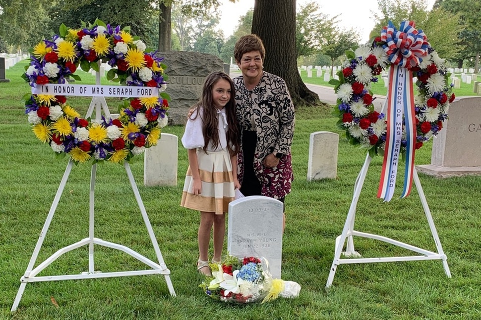 (Photo courtesy Katherine Kitterman) Jeanette Herbert poses with Hope, Seraph Young's great-great-great granddaughter, at an event at Arlington National Cemetery honoring Seraph Young on Sept. 29, 2020.