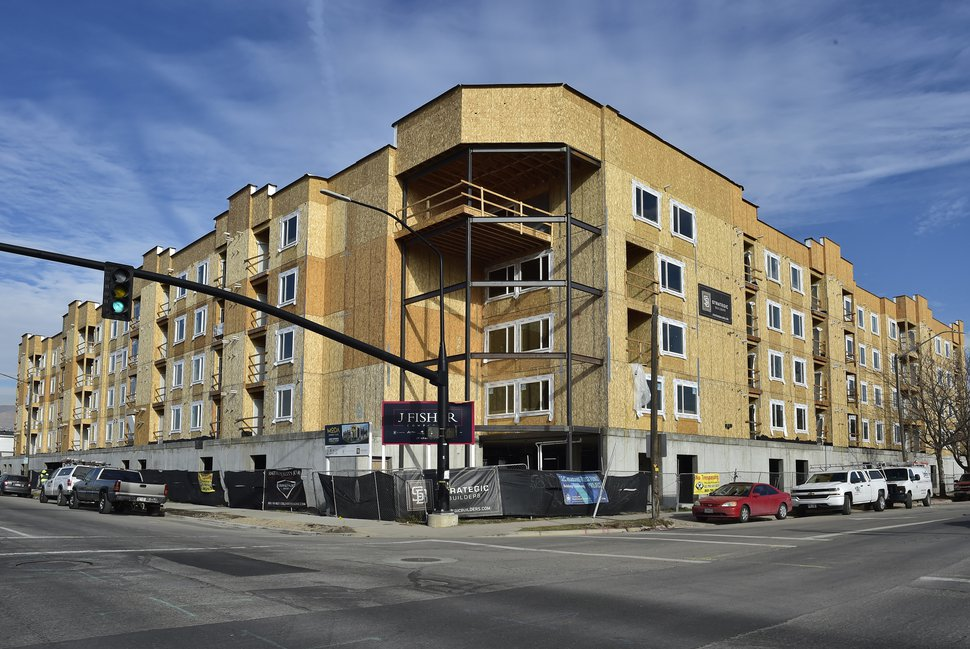 (Scott Sommerdorf | The Salt Lake Tribune) JF Capital's Moda Granary Place, which will offer affordable housing, is well underway on the northeast corner of 300 West and 700 South, January 3, 2018.