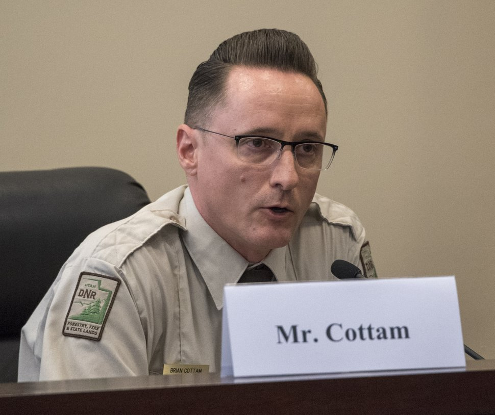 (Rick Egan | The Salt Lake Tribune) Lt. Brain Cottam, State Forester, Utah Department of Natural Resources makes a comment, during a U.S. House Natural Resources Committee forum about how to address catastrophic wildfires, at the State Senate Building, Thursday, Aug. 30, 2018.