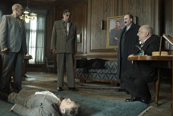 This image released by IFC Films shows, from left, Steve Buscemi, Adrian McLoughlin, Jeffrey Tambor, Dermot Crowley and Simon Russell Beale in a scene from