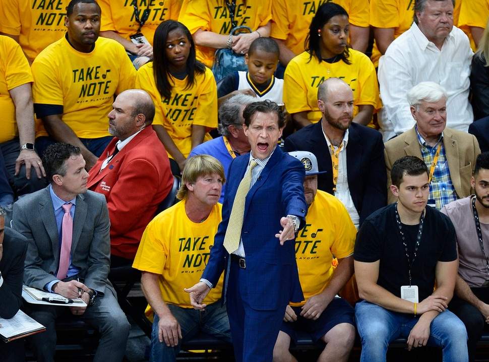 (Scott Sommerdorf | The Salt Lake Tribune) Utah Jazz head coach Quin Snyder yells at the officials after a non call during first half play. The Rockets led the Jazz 58-48 at the half, Sunday, May 6, 2018.