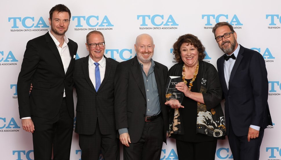 (Photo courtesy of the Television Critics Association) Costa Ronin, executive producer Stephen Schiff, executive producer Joe Weisberg, Margo Martindale and executive producer Chris Long of