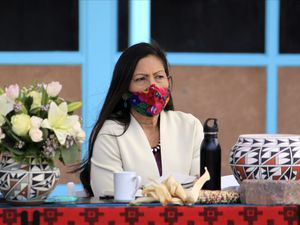 (Susan Montoya Bryan | The Associated Press) U.S. Interior Secretary Deb Haaland listens to tribal leaders during a round-table discussion at the Indian Pueblo Cultural Center in Albuquerque, N.M., on Tuesday, April 6, 2021. The visit marked Haaland's first to her home state after being confirmed as head of the federal agency, making her the first Native American to hold a Cabinet position. She was in southern Utah on Wednesday.