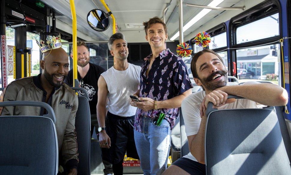 "(Christopher Smith | Courtesy of Netflix) Karamo Brown, Bobby Berk, Tan France, Antoni Porowski and Jonathan Van Ness return in Season 3 of ""Queer Eye."""