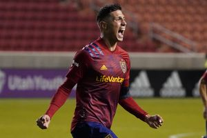 Real Salt Lake midfielder Damir Kreilach reacts after scoring against the Portland Timbers in the first half of an MLS soccer match Wednesday, Oct. 14, 2020, in Sandy, Utah. (AP Photo/Rick Bowmer)