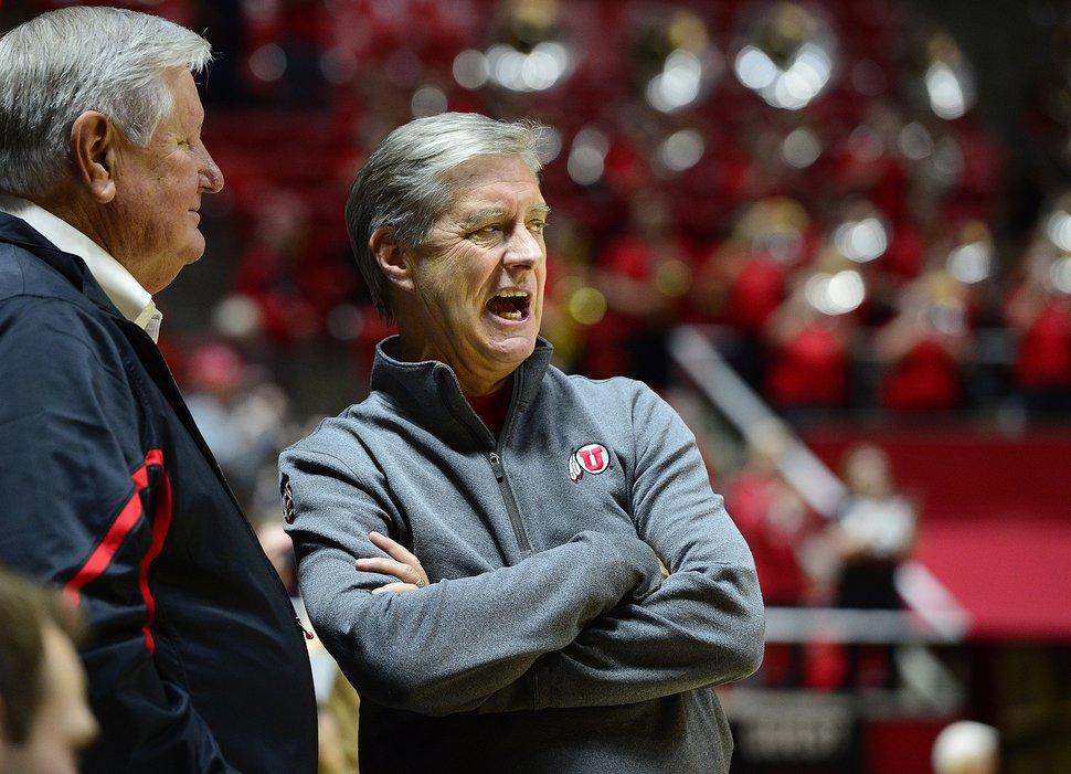 (Scott Sommerdorf | Tribune File Photo) Utah athletic director Chris Hill watches as Utah basketball defeated Washington State 88-47, Sunday, February 14, 2016.