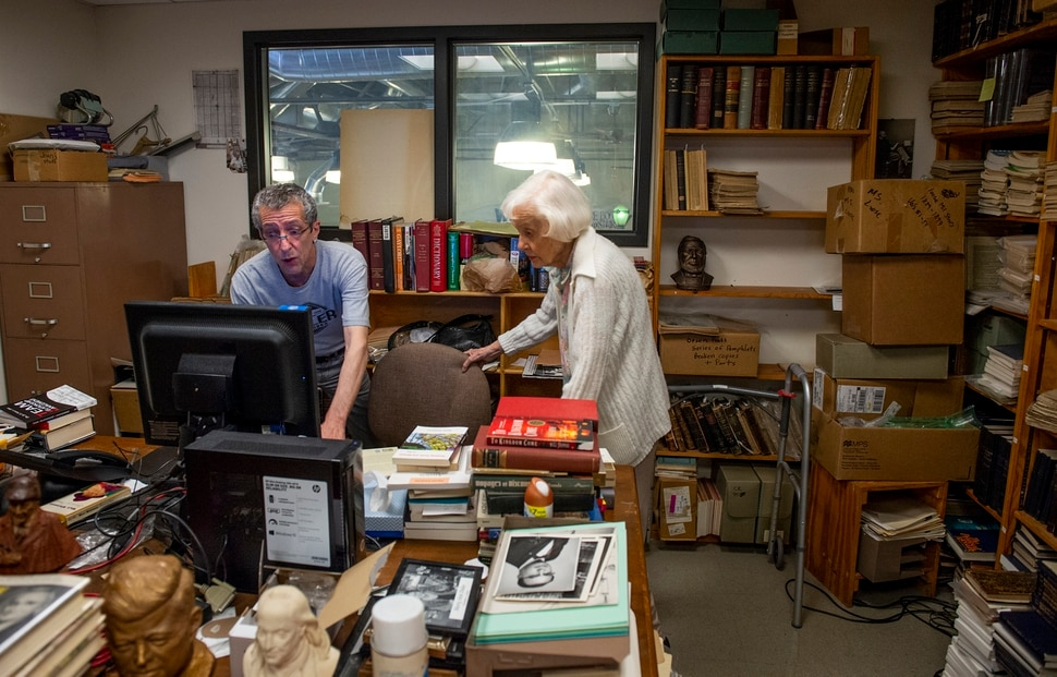 (Leah Hogsten | The Salt Lake Tribune) Tony Weller assists his mother Lila as she logs books into a computer at Weller Book Works, August 7, 2019. Weller Book Works — formerly Zion Bookstore and Sam Weller's Books — is celebrating its 90th year.