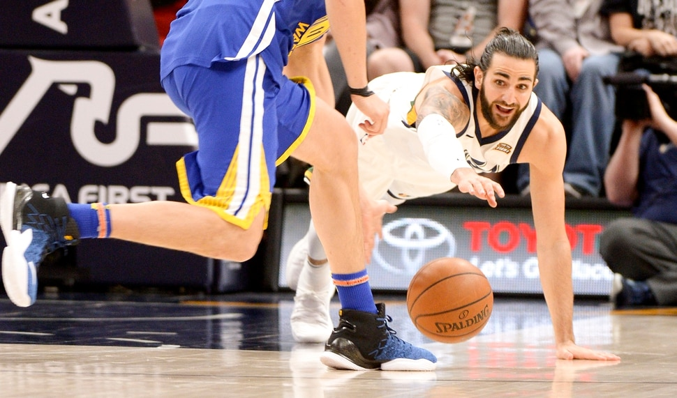(Leah Hogsten | The Salt Lake Tribune) Utah Jazz guard Ricky Rubio (3) battles Golden State Warriors guard Klay Thompson (11) for possession. The Utah Jazz lead the Golden State Warriors 62-33 during their game, Tuesday, April 10, 2018 at the Vivant Smart Home Arena.