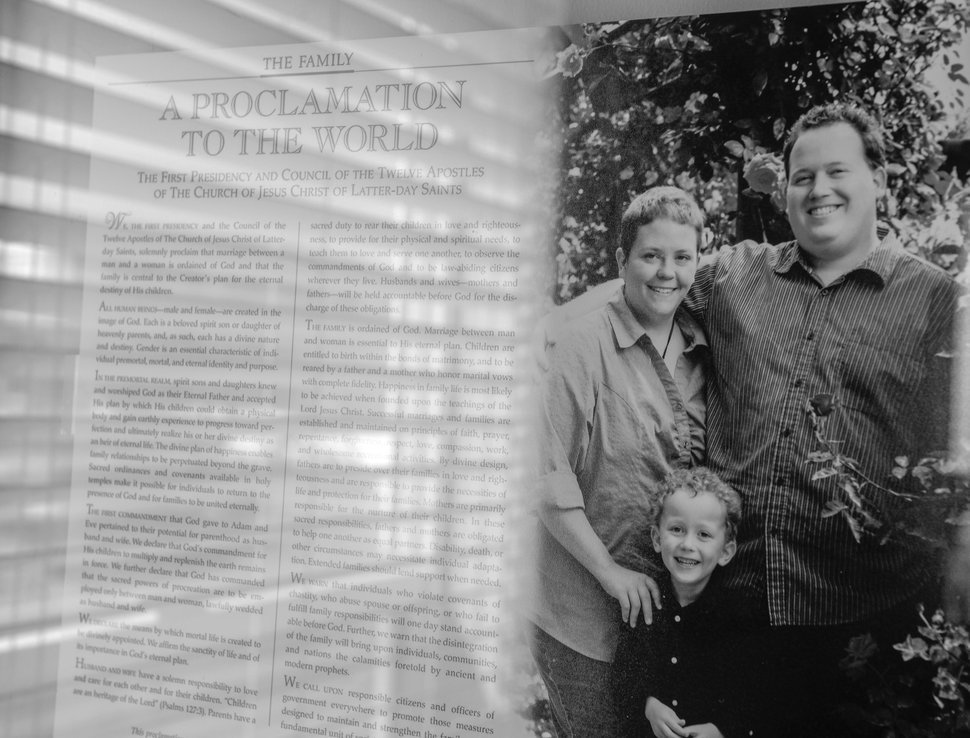 (Leah Hogsten | The Salt Lake Tribune) After a lifetime of feeling like they were born into the wrong body, Kris Irvin came out as transgender three years ago. Kris wants to take the LDS Church's Family Proclamation with the family photo of Kris, Nate and Toby, off their living room wall.