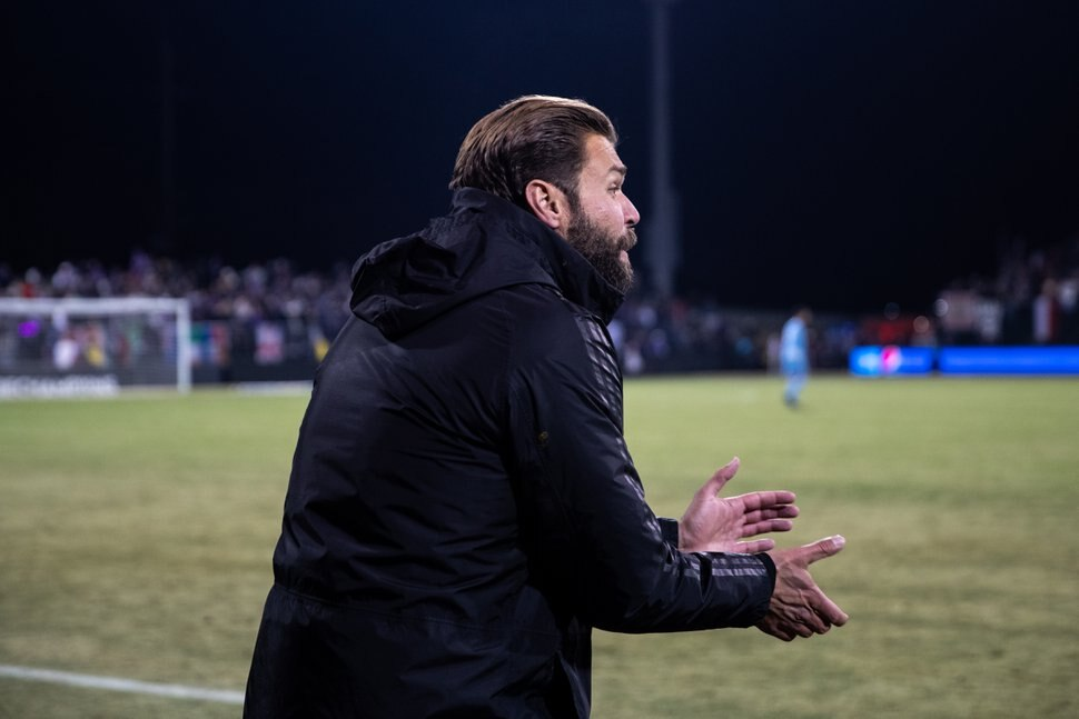 (Photo courtesy of Real Salt Lake) Matt Glaeser encourages the Real Monarchs during the USL Championship final on Nov. 17, 2019 in Louisville, Kentucky. RSL hired Glaeser as the set piece specialist, a rare coaching position in Major League Soccer.