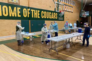 (Photo Courtesy of Granite School District) Students at Kearns High get tested for the coronavirus under the Test to Stay program run on Monday, Dec. 7 and Tuesday, Dec. 8, 2020.