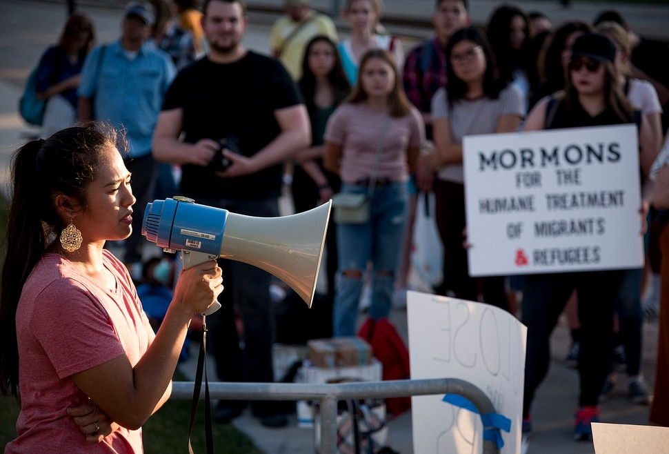 Michael Mangum | Special to the Tribune Claudia Loayza of South Jordan speaks to the crowd during a protest outside the U.S. Immigration and Customs Enforcement Salt Lake City Field Office in West Valley City, UT on Wednesday, July 24, 2019.