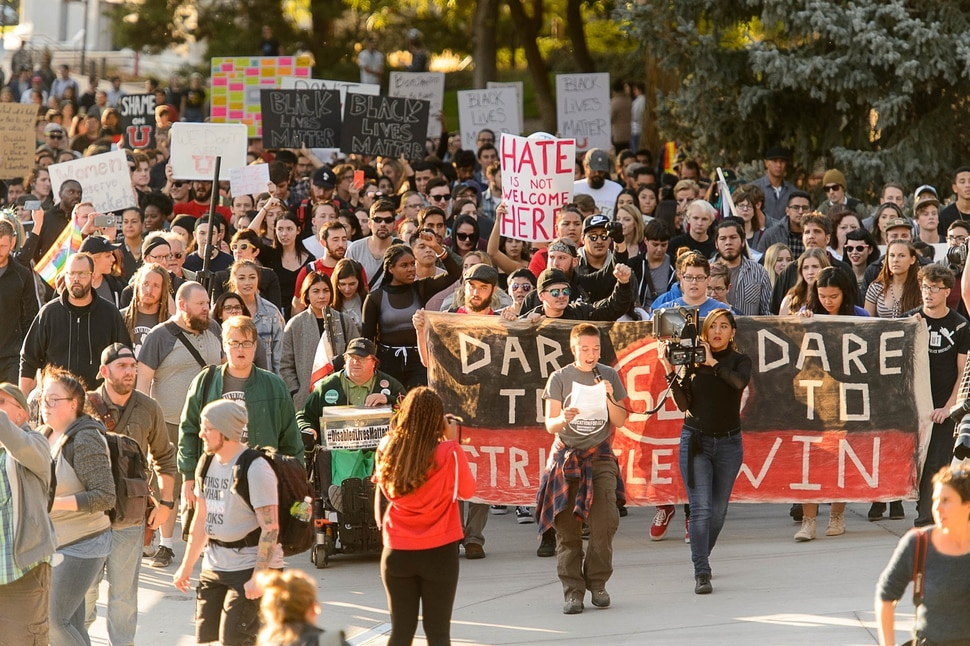 (Trent Nelson | The Salt Lake Tribune) A group of protesters rally against an appearance by Ben Shapiro at the University of Utah in Salt Lake City, Wednesday September 27, 2017.