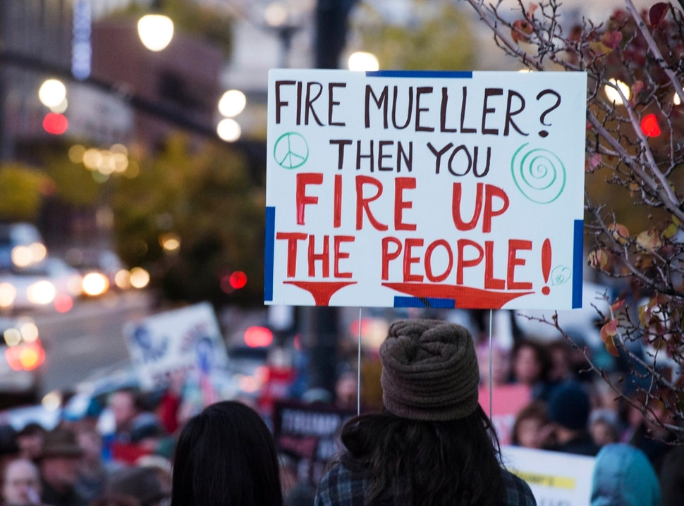 (Rick Egan | The Salt Lake Tribune) Protestors gather at the Federal Building, to demand protection for the Mueller investigation, Thursday, Nov. 8, 2018.