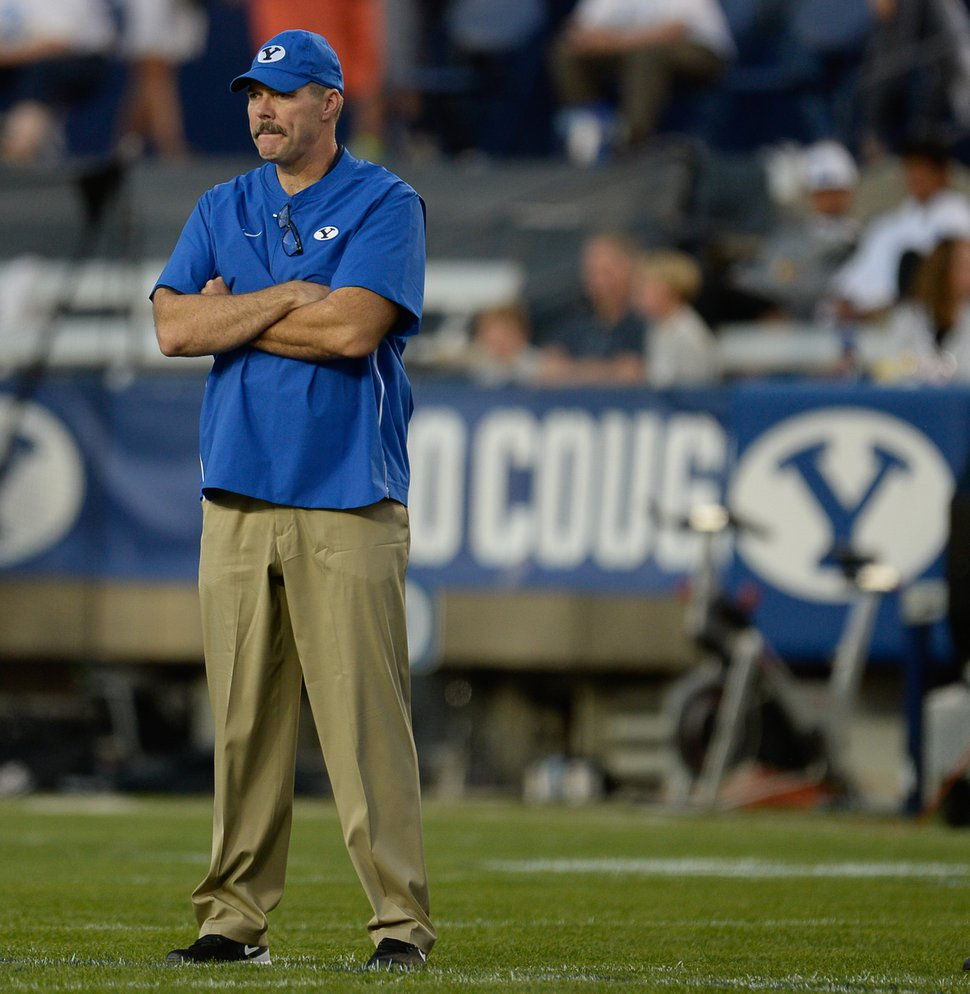 (Francisco Kjolseth   The Salt Lake Tribune) BYU offensive coordinator Jeff Grimes during takes to the field before their game against California in the NCAA college football game, Saturday, Sept. 8, 2018, at LaVell Edwards stadium in Provo, Utah.