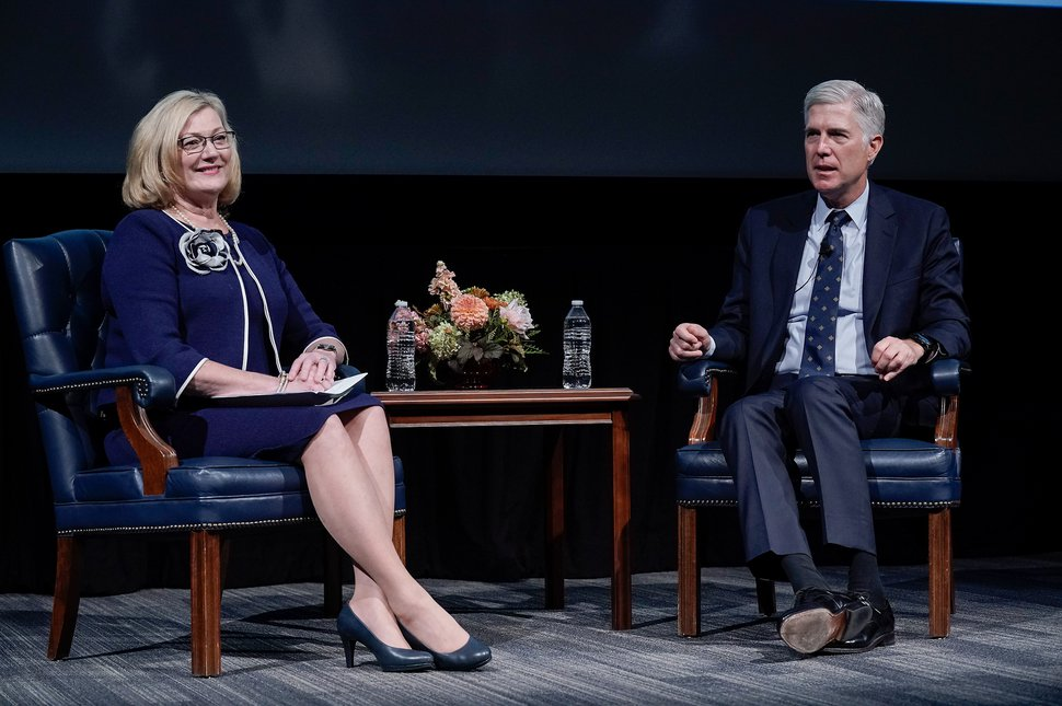 (Photo courtesy of Brigham Young University) Judge Carolyn B. McHugh of the United States Court of Appeals for the Tenth Circuit and Justice Neil Gorsuch of the United States Supreme Court speak with students at Brigham Young University during