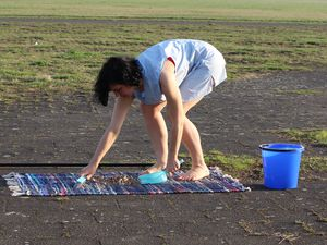 "(Photo courtesy of Michelle Standley)  Performance artist Michelle Standley, during the first performance of her work ""4.5 Hours,"" on the grounds of Berlin's Tempelhof Airport on April 1, 2017. Standley will perform ""4.5 Hours"" again on Oct. 6, 2019, on the south edge of Salt Lake City's Temple Square."