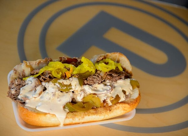 (Trent Nelson   The Salt Lake Tribune) Cheesesteak with provolone, mushrooms, onions, peppers, and spicy mayo on top. Fat Boy Phillies, a popular new sandwich shop in Murray, Monday, July 23, 2018.