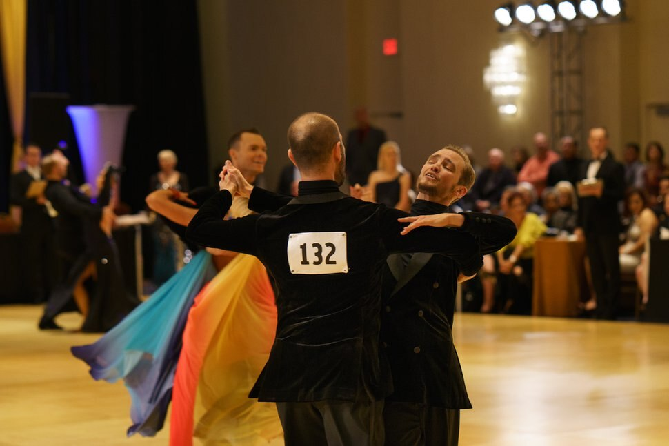 (Photo courtesy of James Hosking) Pictured are Alex Tecza and Kato Lindholm, professional partners in ballroom dance.